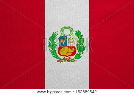 Peruvian national official flag. Patriotic symbol banner element background. Correct colors. Flag of Peru with real detailed fabric texture accurate size illustration