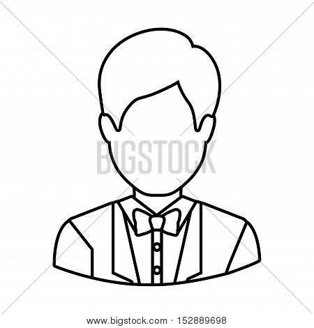 silhouette avatar male man wearing suit and bow tie icon over white background. vector illustration