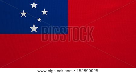Samoan national official flag. Patriotic symbol banner element background. Correct colors. Flag of Samoa with real detailed fabric texture accurate size illustration