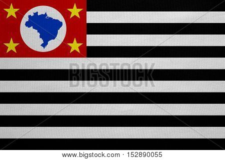 Brazilian state of Sao Paulo official flag symbol. Brasil banner background. Federative Republic of Brazil patriotic element. Flag of Sao Paulo real fabric texture accurate size color illustration