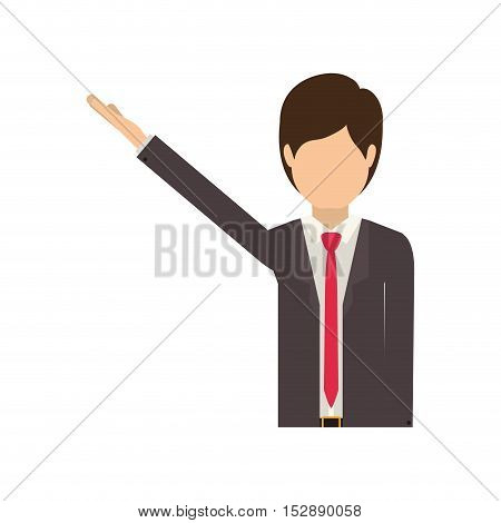 avatar male man wearing suit and tie with hand up over white background. vector illustration