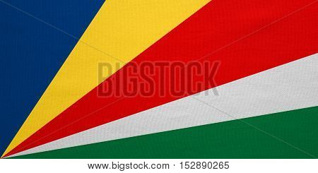 Seychellois national official flag. African patriotic symbol banner element background. Correct colors. Flag of Seychelles with real detailed fabric texture accurate size illustration