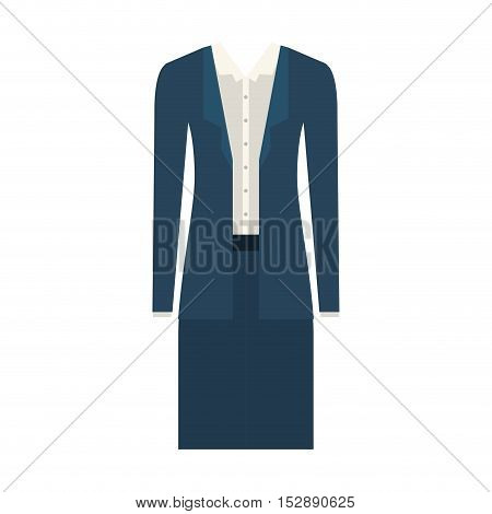 blue skirt and white blouse with  jacket. executive women clothes design. vector illustration