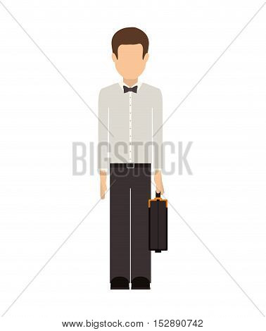 avatar male man wearing suit and bow tie with executive briefcase accessory over white background. vector illustration