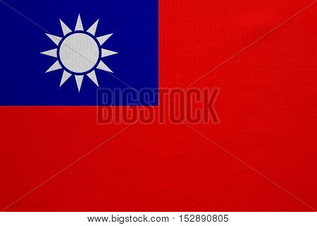 Taiwan national official flag. Patriotic ROC symbol banner element background. Correct colors. Flag of the Republic of China with real detailed fabric texture accurate size illustration