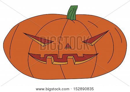 vector illustration of a Halloween pumpkin with carved scary face