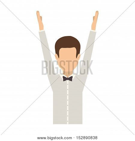 avatar male man with arms up and  wearing suit and bow tie over white background. vector illustration