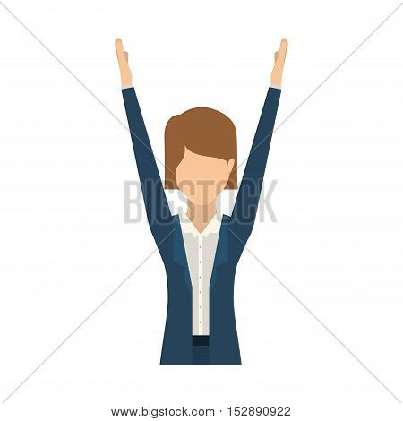 avatar female woman wearing executive clothes with hand up over white background. vector illustration
