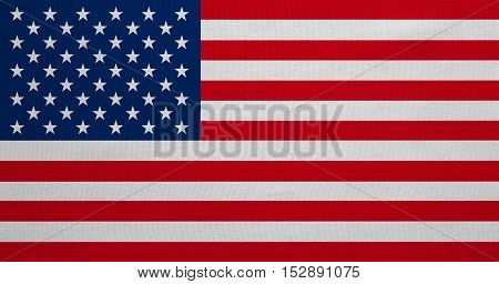 American national official flag. Symbol of the United States. Patriotic US banner element. design background. Flag of USA with real detailed fabric texture. Accurate size color illustration