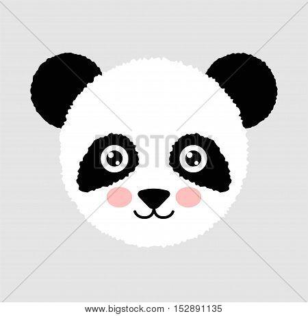 Cute panda face. Animal Head. Vector Illustration Isolated