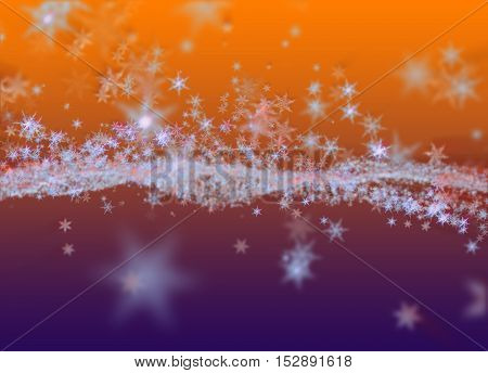 Snowflakes Winter Field Cloud Background. Happy New Year, Christmas Theme Blurred Bokeh