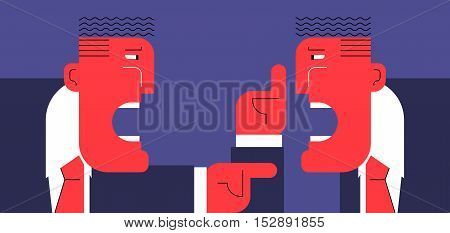 Hard discussion. Two abstract angry businessmen arguing with each other.