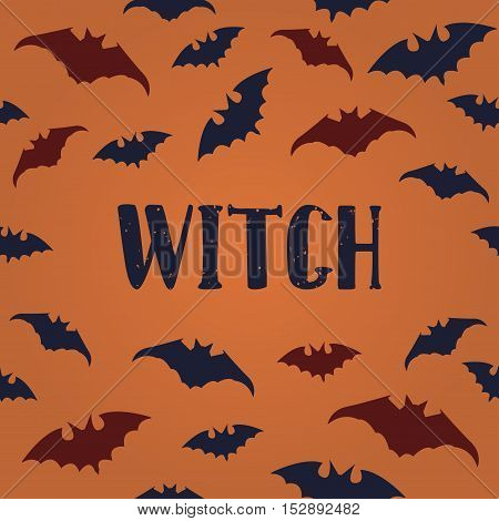 Halloween poster with Seamless pattern bats and modern hand drawn calligraphy - Witch. Vector illustration.