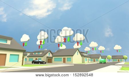 Low poly city scene with several houses all connected to the cloud communication concept 3D illustration