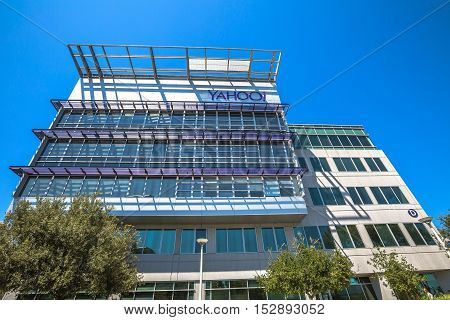 Sunnyvale, California, United States - August 15, 2016: Yahoo Headquarters office building. Yahoo is a multinational technology company that is known for its web portal and search engine Yahoo Search.