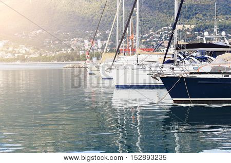 Sailing Boats Docked In A Bay