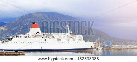 White Docked Cruise Shipe