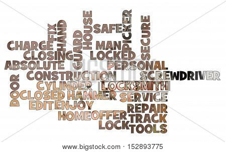 locksmith word cloud on white background with service image - can use to display or montage on products or concept crack the door