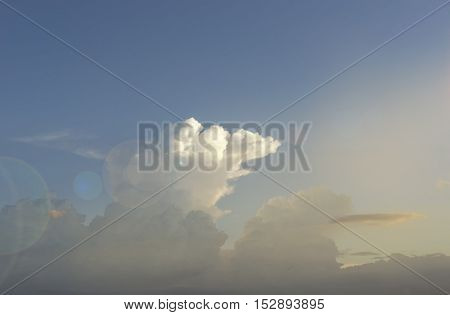 cloudscape on sun light and len fare filter - can use to display or montage on product