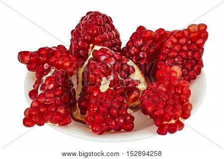 Delicious pomegranate fruit isolated on white background