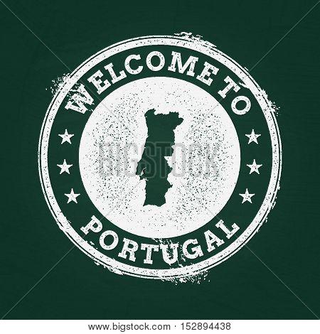White Chalk Texture Retro Stamp With Portuguese Republic Map On A Green Blackboard. Grunge Rubber Se