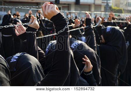 Istanbul Turkey - October 11 2016: Muslims worldwide marks Ashura Istanbul Shiite community. Turkish Shia Muslims mourning for Imam Hussain.