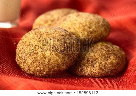 Homemade snickerdoodle cookies with cinnamon and sugar coating on red fabric photographed with natural light (Selective Focus Focus in the middle of the left cookie and the front edge of the right one)