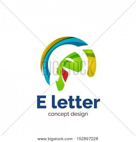 letter concept logo template, abstract business icon. Created with transparent overlapping wave elements, elegant design