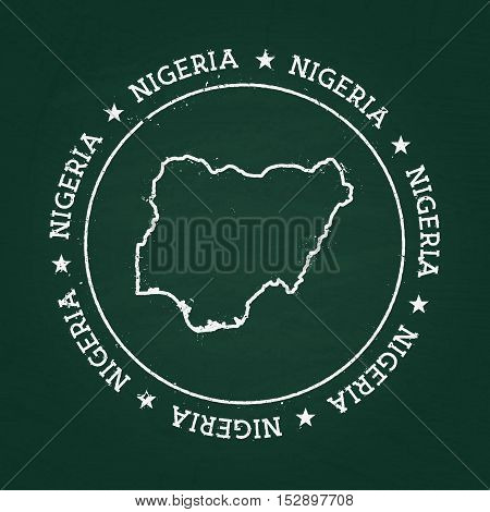 White Chalk Texture Rubber Seal With Federal Republic Of Nigeria Map On A Green Blackboard. Grunge R