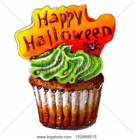 Marker sketch of Happy Halloween cupcake. Party dessert of chocolate dough with green cream orange plate with text. Tasty food. Isolated on white background. Hand drawing on paper. Macro cutout. Brown. Creativity art.