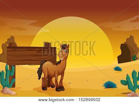 Wooden sign in the western desert ground illustration