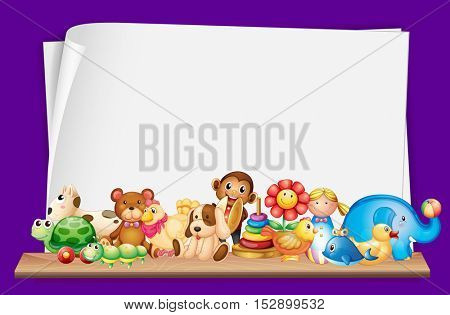 Paper template with lots of toys illustration
