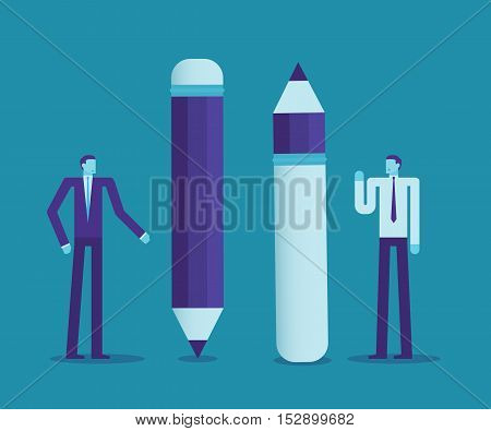 Two Businessmen Use The Difference Of Pencils, Think Creative Or Negative, Business Concept.
