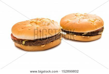 cheeseburger classic sandwich on a white background