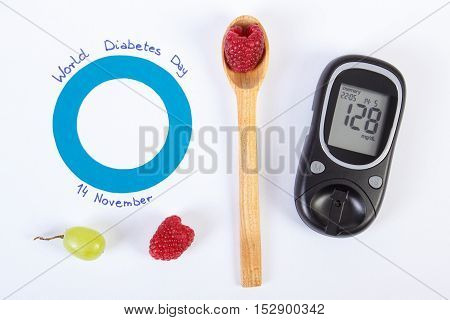 Glucometer, Symbol Of World Diabetes Day And Fresh Fruits On White Background
