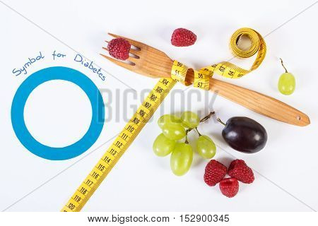 Symbol Of World Diabetes Day And Fresh Fruits With Centimeter