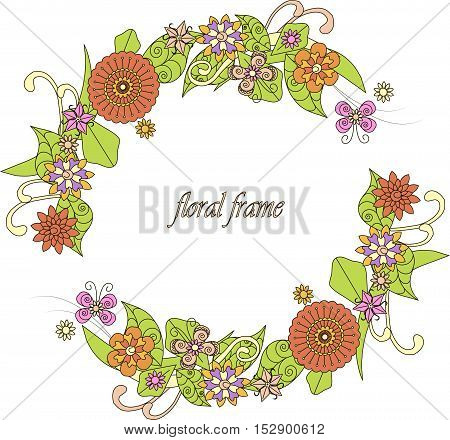 Round colorful hand drawn flowers frame on white, vector illustration for fabric print