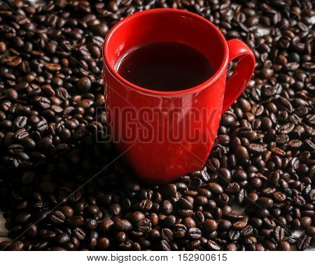 Red Cup With Coffee Beans