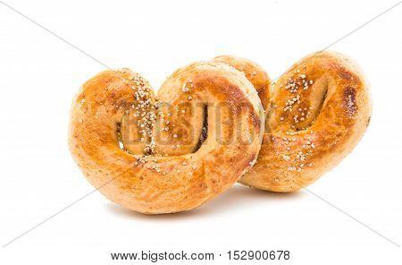 turkish dessert baked pretzel on a white background