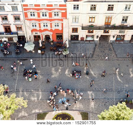 Market square with tourist crowd in Lviv Ukraine view from above