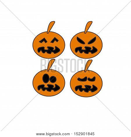 pumpkin four icons vector on white background