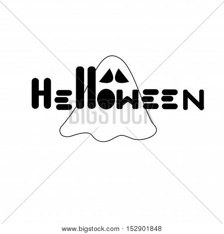 Ghost art  Halloween vector text on white background