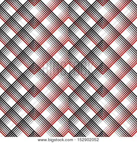 Seamless Tartan Pattern. Vector Black and Red Plaid Background. Abstract Line  Design