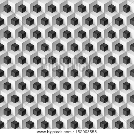 Abstract background with cubes in black and white for design