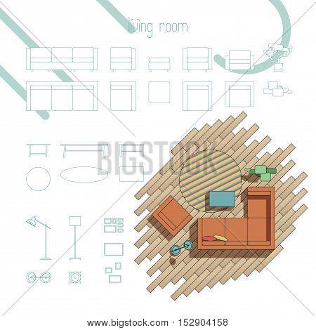 Set of vector design elements for living room