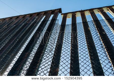 Border fence along the United States-Mexico Border in San Diego, California.