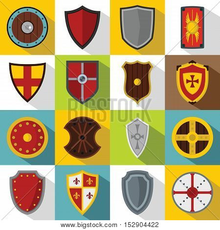 Shield frames icons set. Flat illustration of 16 Shield frames vector icons for web