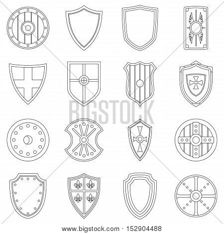 Shield frames icons set. Outline illustration of 16 Shield frames vector icons for web