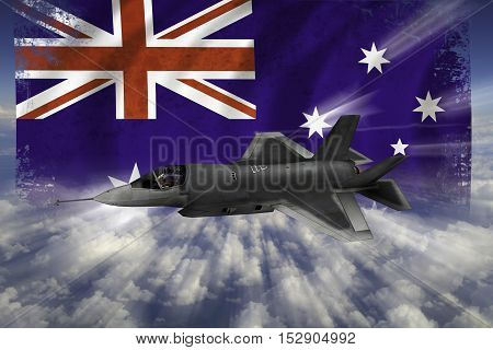 F-35 Modern Stealth Flighter With Flag Of Australia