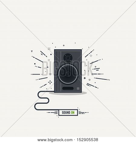 Black and gray loudspeaker with abstract sound waves. Thick lines and flat style illustration. Acoustic speaker concept with cord and text button sound on.